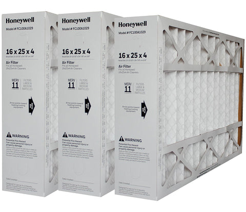 "Honeywell 16x25x4 MERV 11 Model # FC100A1029 Genuine Original. Actual Size 15 15/16"" x 24 7/8"" x 4 3/8"". Case of 3."