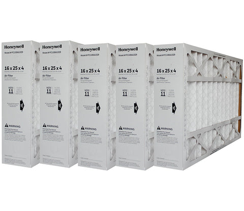 "Honeywell 16x25x4 Model # FC100A1029 MERV 11 Genuine Original. Actual Size 15 15/16"" x 24 7/8"" x 4 3/8"". Case of 5."