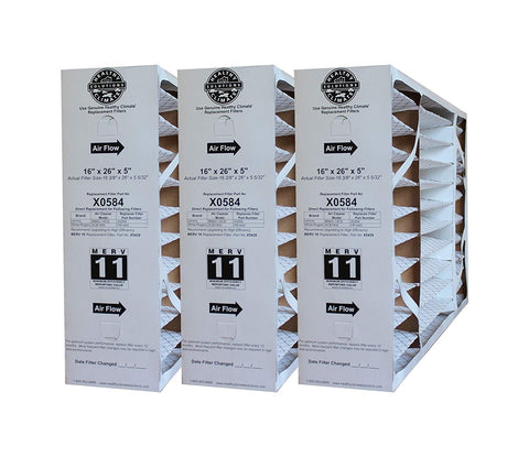 Lennox X0584 16x26x5 MERV 11 Healthy Climate for BMAC-14CE. Package of 3.