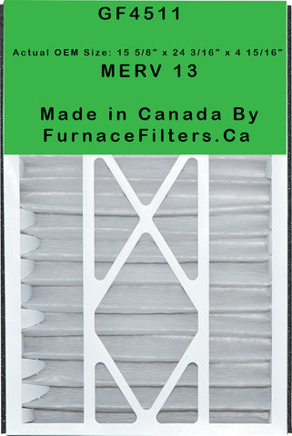 "Sears / Kenmore Part # GF 4511 Replacement Filter 16x25, Actual Size 15 5/8"" x 24 3/16"" x 4 15/16."" MERV 13. Case of 3."