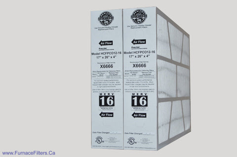 Lennox X6666 Furnace Filter 17x26x4 Healthy Climate MERV 16 for PCO-12C. Package of 2.