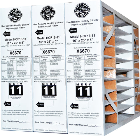 LENNOX / Healthy Climate 16x25x5 Part No. X6670 MERV 11 Genuine Original for HCF16-11. Package of 3.