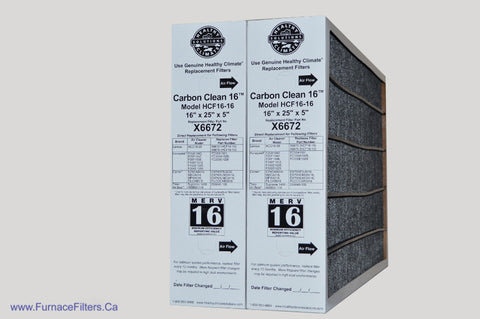 Lennox X6672 Furnace Filter 16x25x5 Healthy Climate Carbon Clean MERV 16 for Model HCF16-16. Package of 2