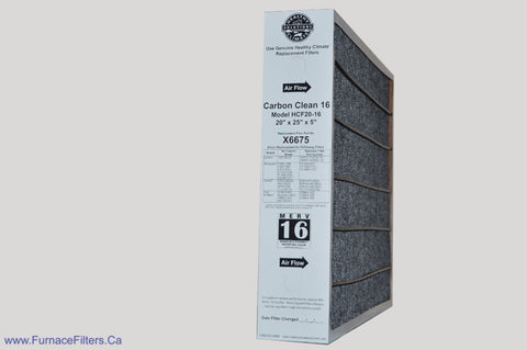 Lennox X6675 Furnace Filter 20x25x5 Healthy Climate Carbon Clean MERV 16 for Model HCF20-16. Package of 1.