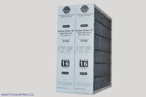 Lennox X7935 Furnace Filter 20x20x5 Healthy Climate Carbon Clean MERV 16 for Model # HCC14-23. Package of 2.