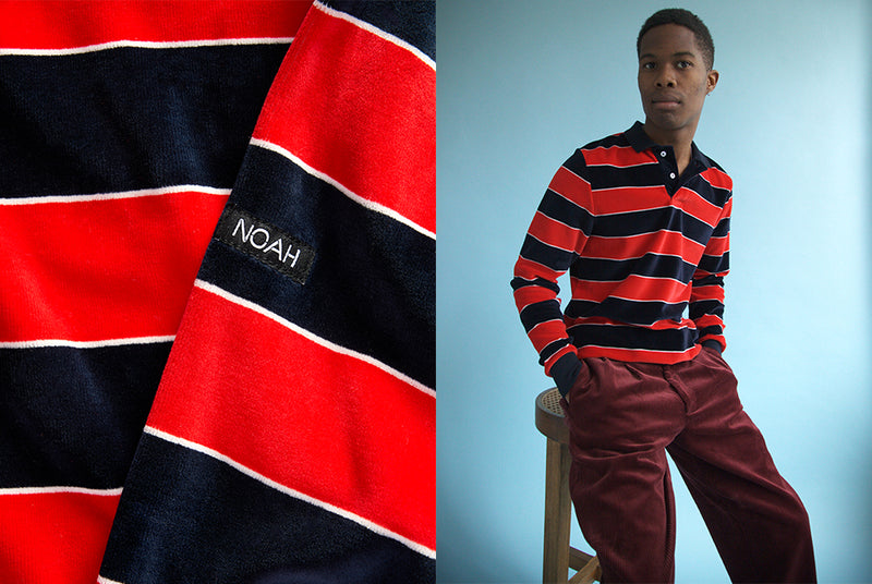 In Detail: Velour Stripe Polo Pullover