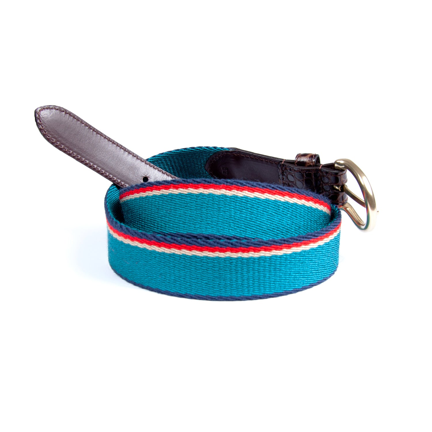 Faux Croc Webbing Striped Belt