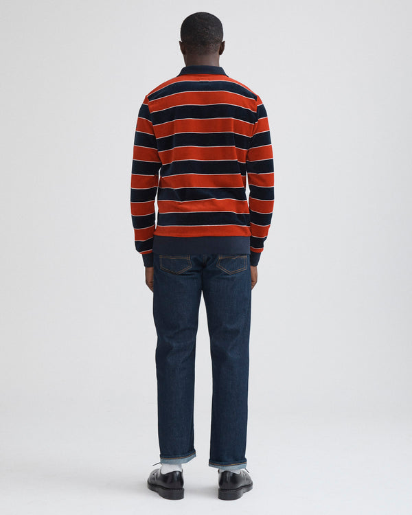 Velour Stripe Polo Pullover