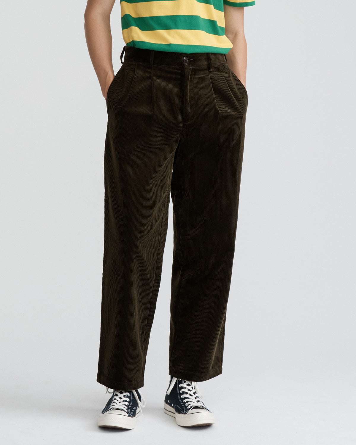 Double-Pleat Corduroy Trousers
