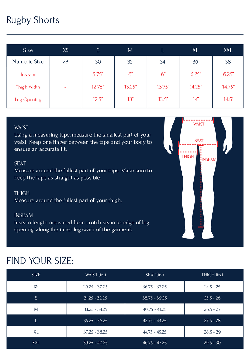 Noah - Winged Foot Rugby Short - Size Chart