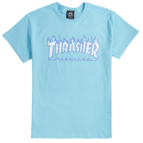 THRASHER - FLAME TEE - SKY BLUE