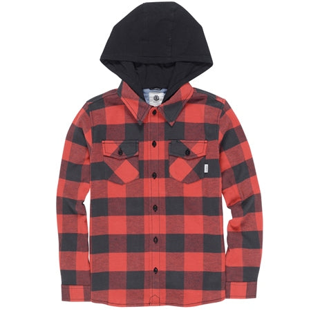 ELEMENT TACOMA HOODED SHIRT YOUTH - RED