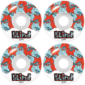 BLIND TILE STYLE WHEEL RED/BLUE 53MM