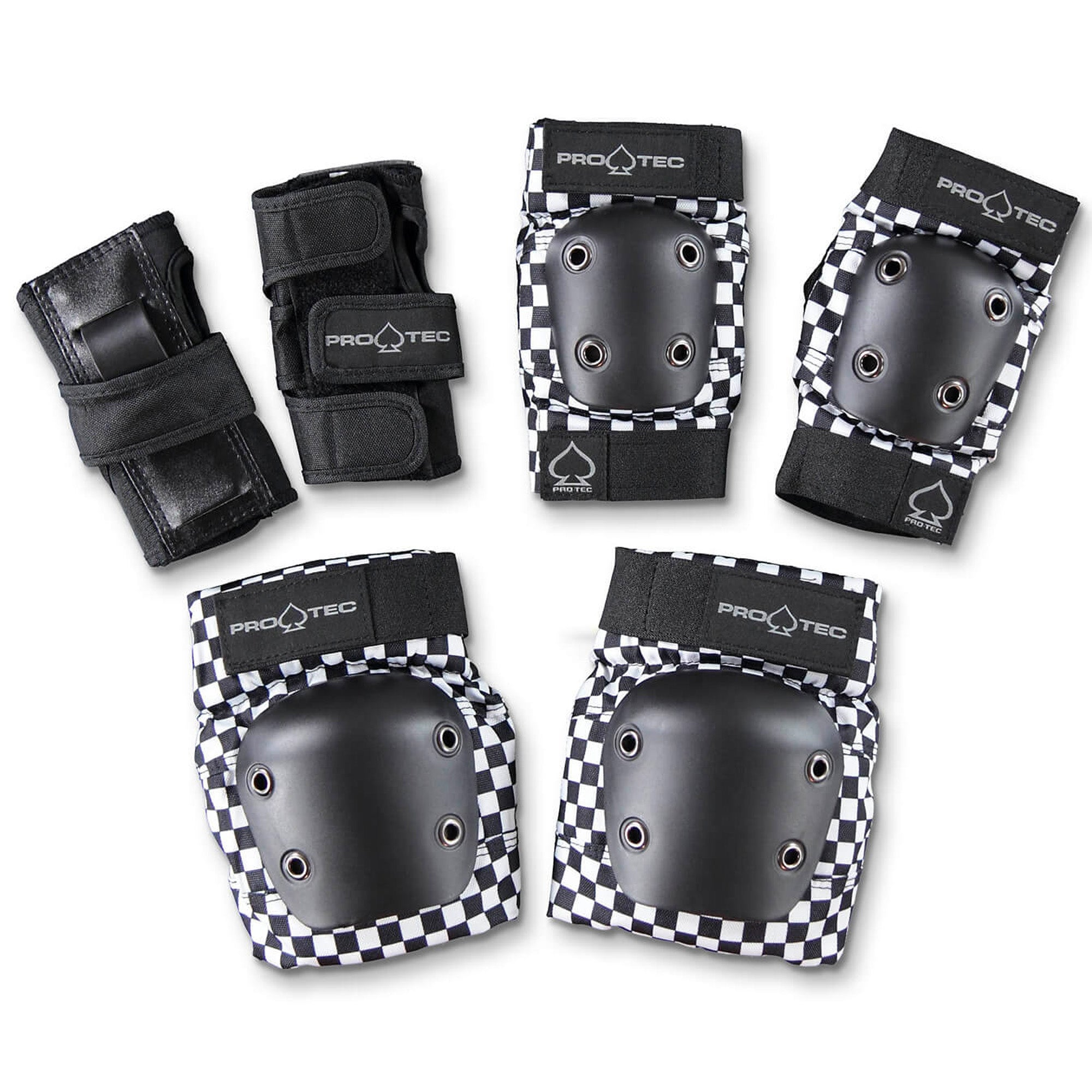 PROTEC STREET JUNIOR KNEE/ELBOW PADS 3 PACK CHECKER BLACK/WHITE