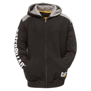 CAT LOGO PANEL ZIP UP HOODIE BLACK