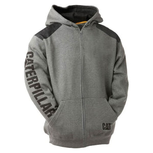 CAT LOGO PANEL ZIP UP HOODIE GREY
