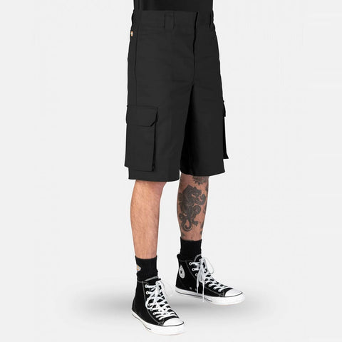 DICKIES - 131 SLIM STRAIGHT CARGO SHORTS - BLACK