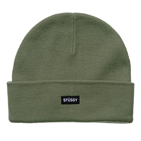 STUSSY LOGO BADGE CUFF BEANIE - FLIGHT GREEN