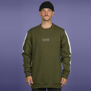 FYVE COTTON CREW-NECK 2020 OLIVE WHITE