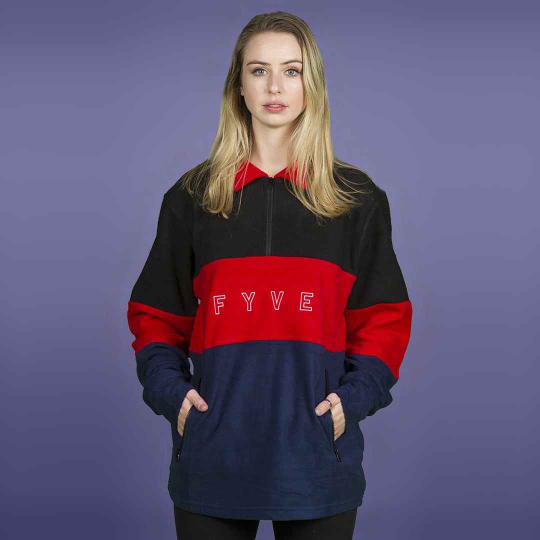 FYVE POLY FLEECE BLACK RED NAVY