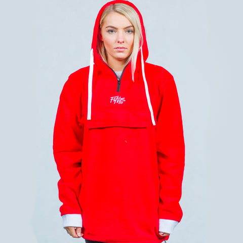 FYVE FLEECE HOODY RED