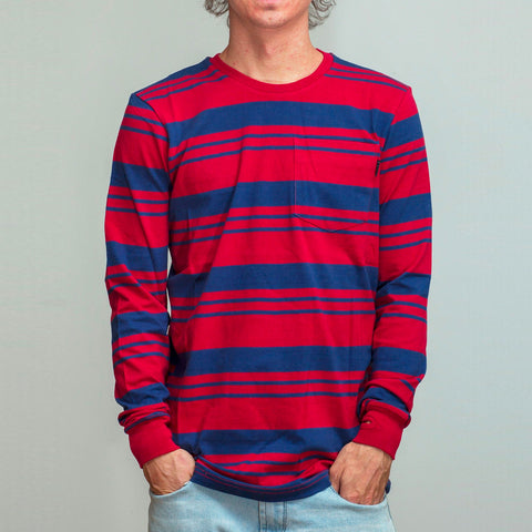 FYVE LONG SLEEVE TEE RUBY/BLUE