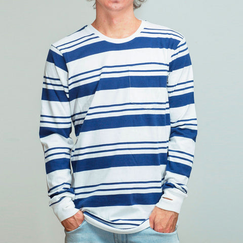 FYVE LONG SLEEVE TEE WHITE/NAVY