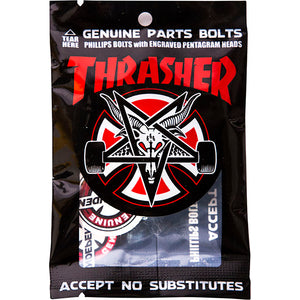 "INDEPENDENT X THRASHER - 1"" DECK BOLTS PHILLIPS BLACK/SILVER"