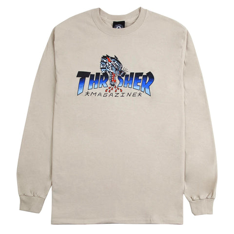 THRASHER LEOPARD MAG L/S TEE - SAND