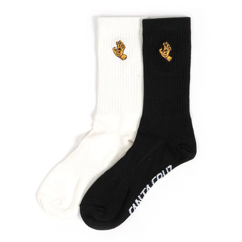 SANTA CRUZ - MONO HAND SOCKS 2PK BLACK/WHITE