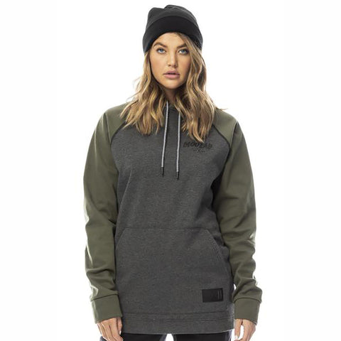 MOO LAB - BRIXTON UNISEX 5K WATERPROOF TALL HOODIE - CHARCOAL MARLE/FOREST