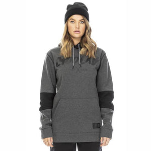 MOO LAB - HARPER UNISEX 5K WATERPROOF TALL HOODIE - CHARCOAL MARLE/BLACK