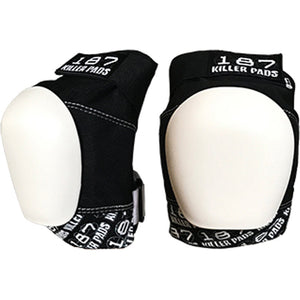187 PRO KNEE PADS BLACK WHITE with WHITE CAPS