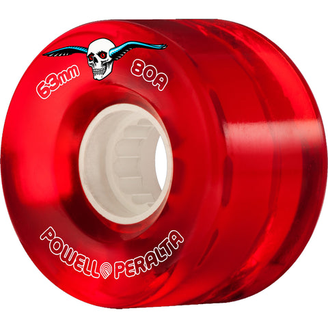POWELL PERALTA - CLEAR CRUISER WHEELS - RED - 63MM