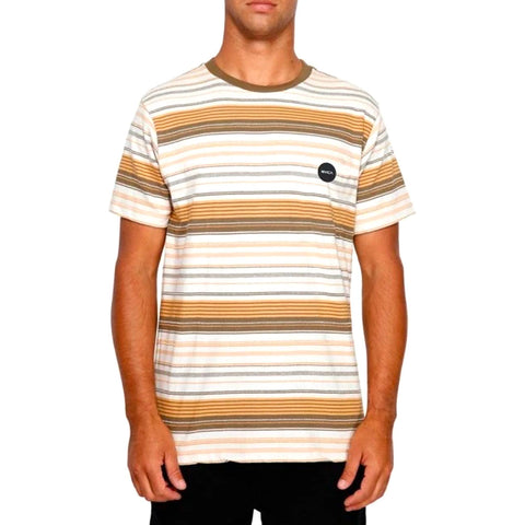 RVCA DEADBEAT STRIPED TEE APRICOT