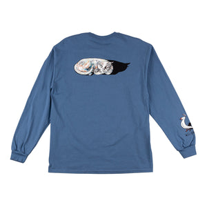 WELCOME SLEEPING CAT LONG SLEEVE TEE SLATE