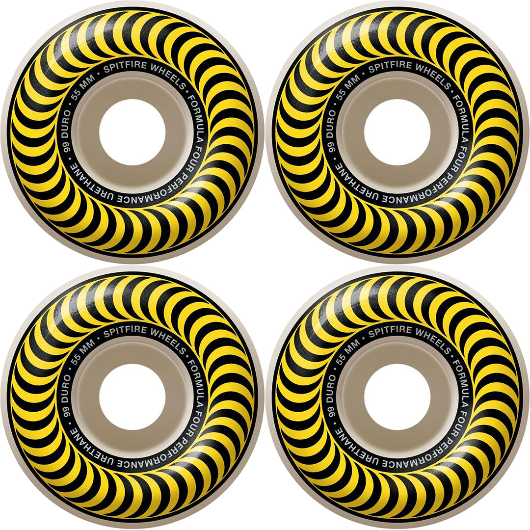 SPITFIRE FORMULA FOUR CLASSIC SWIRL WHEELS YELLOW 99D 55MM