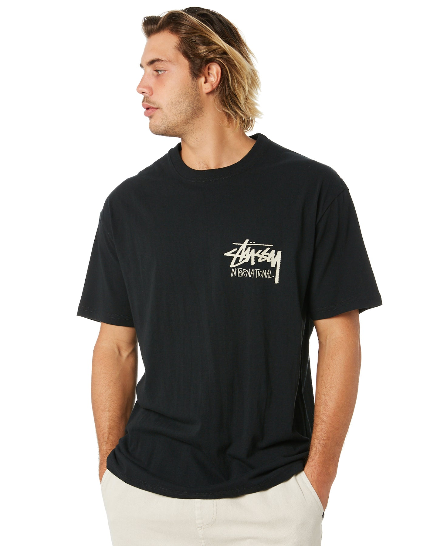 STUSSY STOCK INTERNATIONAL TEE BLACK