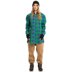 MOO LAB - HUNTER UNISEX 5K WATERPROOF TALL HOODIE - KELLY GREEN/CHECK