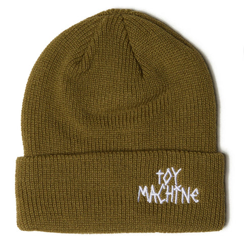 TOY MACHINE TAPE LOGO BEANIE - OLIVE