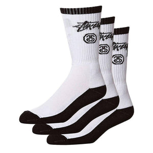 STUSSY STOCK CREW 3 PACK SOCKS