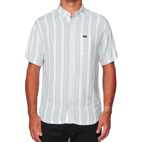 RVCA CARAVAN STRIPE SHORT SLEEVE SHIRT WHITE