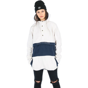 YUKI THREADS SOUTH POLAR FLEECE HOOD OFF WHITE NAVY