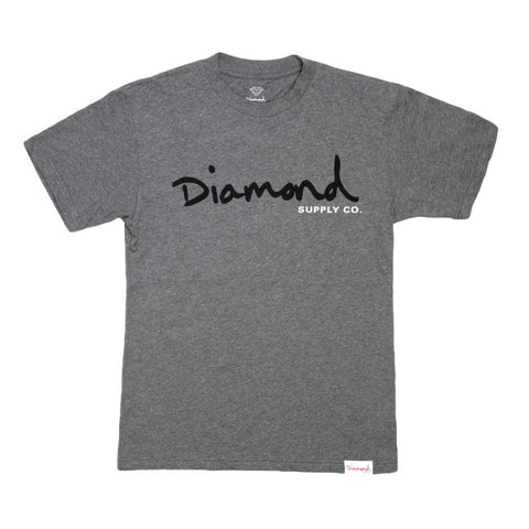 DIAMOND SUPPLY CO OG SCRIPT TEE - HEATHER GREY