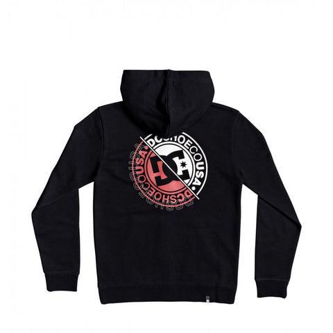 DC BRIGHT ROLLER YOUTH ZIP HOODIE - BLACK/RED