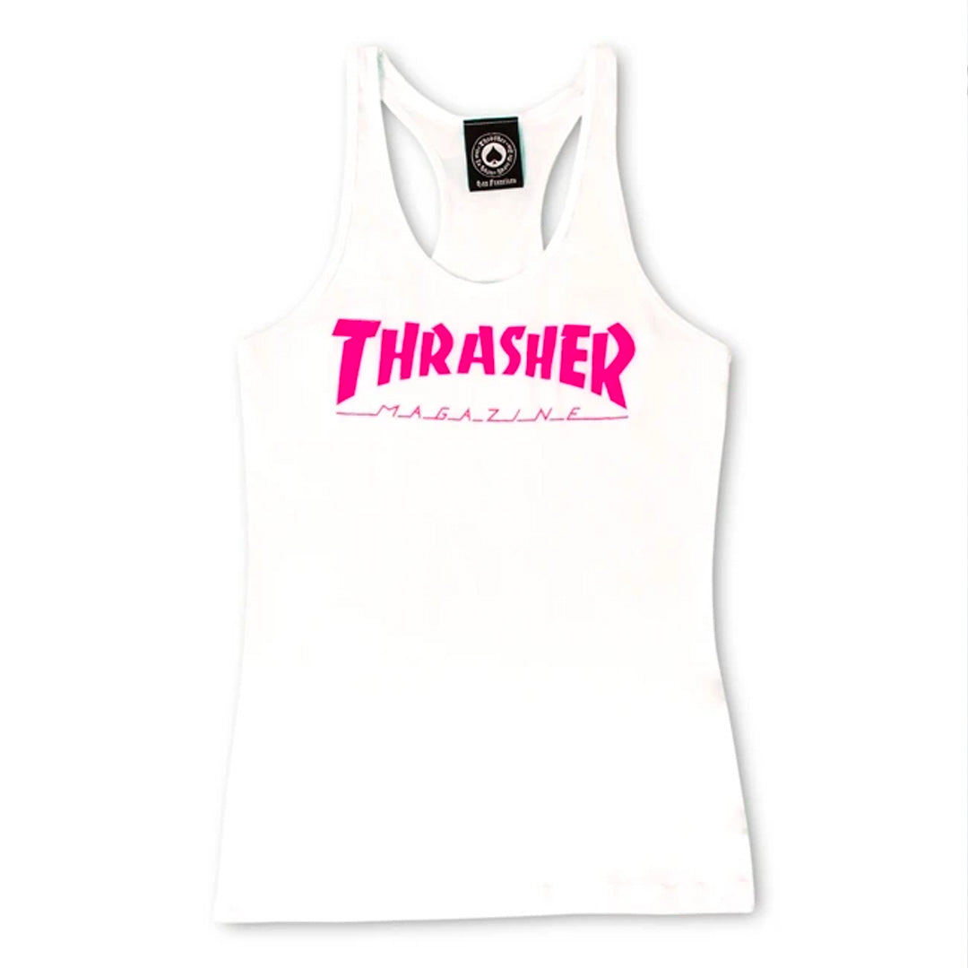 THRASHER MAG LOGO RACERBACK WOMENS MUSCLE TOP WHITE