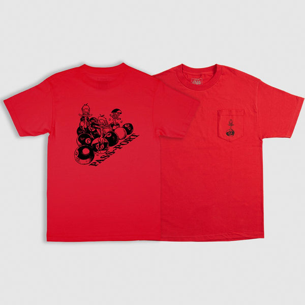 PASSPORT DUCKS IN A ROW POCKET TEE RED