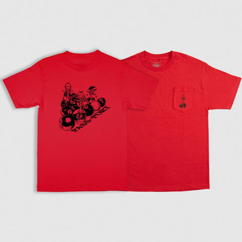 PASS~PORT DUCKS IN A ROW POCKET TEE RED