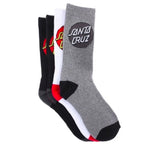 SANTA CRUZ - CRUZ SOCKS 4PK BLACK/WHITE/GREY