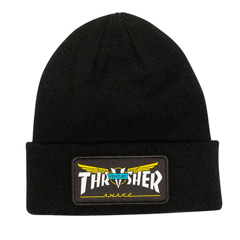 THRASHER x VENTURE PATCH BEANIE - BLACK